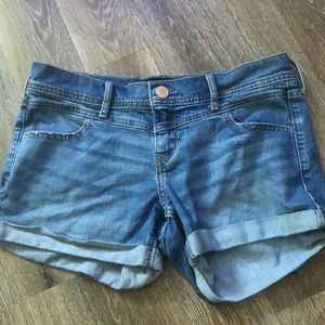 hollister midi jean shorts